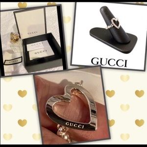 NEW AUTHENTIC GUCCI STERLING SILVER HEART ♥️ RING